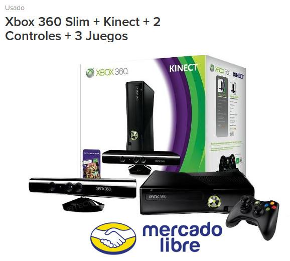 Xbox 360 Slim + Kinect + 2 Controles + 3 Juegos - Mercadolibre